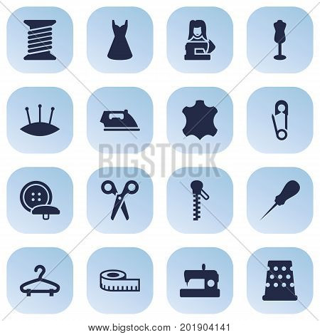 Collection Of Spool, Skin, Fastener And Other Elements.  Set Of 16 Tailor Icons Set.