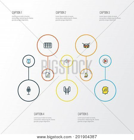 Music Colorful Outline Icons Set. Collection Of Keys, Harp, Play And Other Elements
