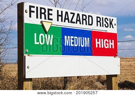 A low fire hazard risk indicator sign.