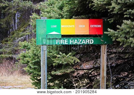 A Sign At A Campground Indicating A Low Fire Risk