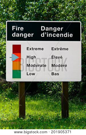 A Fire Danger Indicator Sign In Both English And French