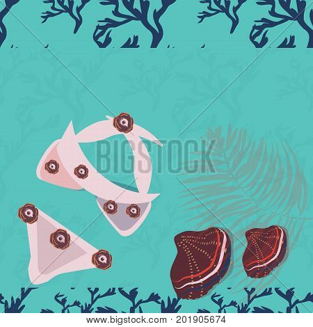 Swim suit and seashells on wooden background. Vector mockup