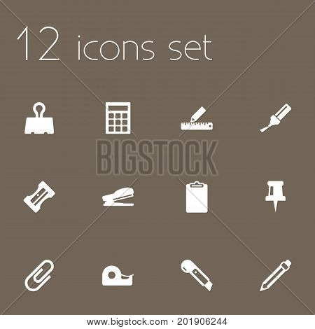 Collection Of Sticky, Calculate, Drawing And Other Elements.  Set Of 12 Instruments Icons Set.