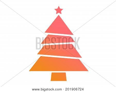 Vector Colorful Gradient Christmas Tree Flat Icon