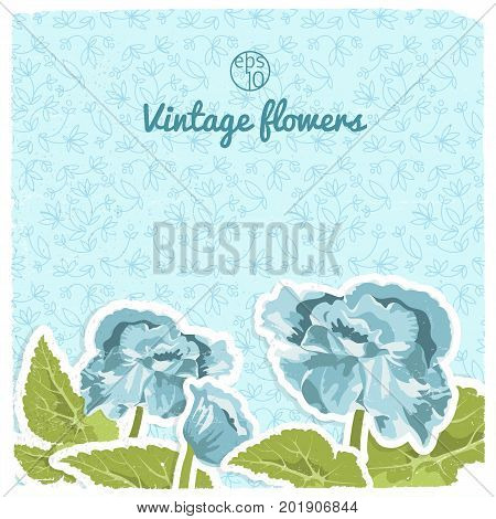 Vintage flowery backround with blue flower green leaves on light floral seamless pattern isolated vector illustration