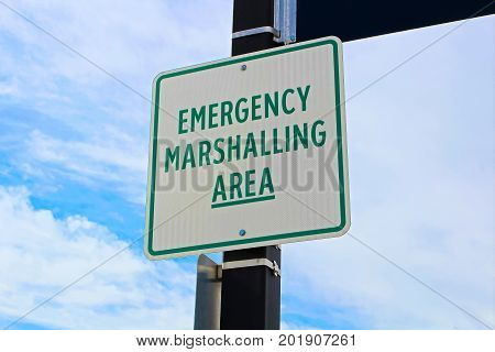 Emergency Marshalling Area Sign On A Street Pole