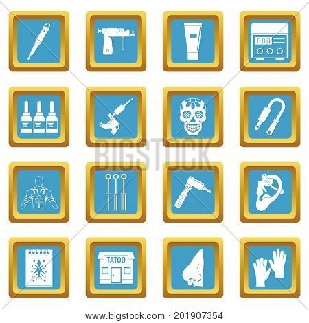 Tattoo parlor icons set in azur color isolated vector illustration for web and any design