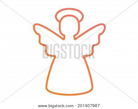 Vector Colorful Gradient Pink To Orange Christmas Angel Line Icon