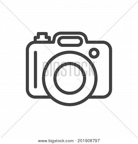 Vector Dslr Camera Element In Trendy Style.  Isolated Photo Outline Symbol On Clean Background.