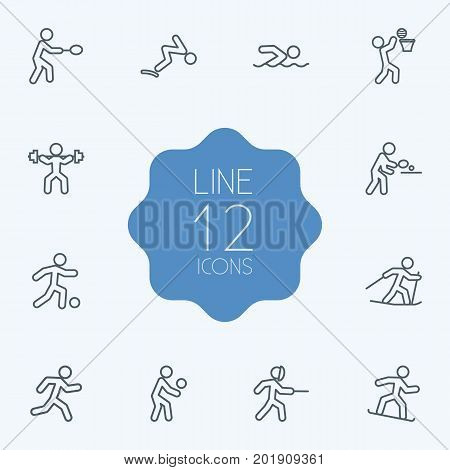Collection Of Soccer, Diving, Swimming And Other Elements.  Set Of 12 Fitness Outline Icons Set.