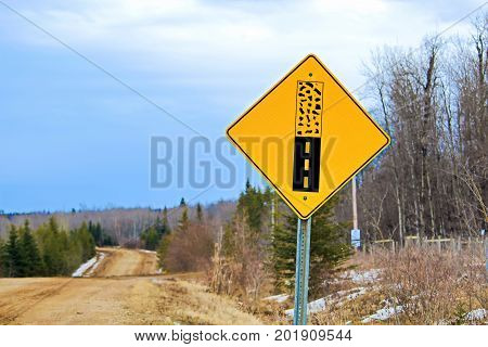 Pavement Ends Warning Sign On A Back Road