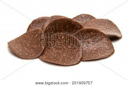 Chocolate chips with nuts on white background