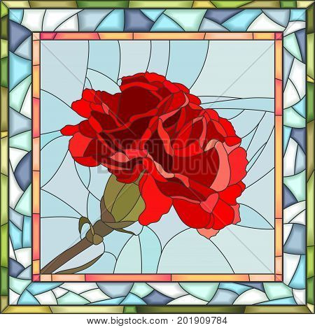 Vector mosaic of red carnation on blue in square stained-glass window frame.