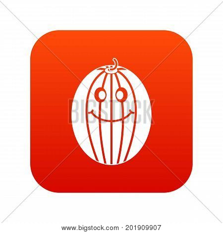 Ripe smiling melon icon digital red for any design isolated on white vector illustration