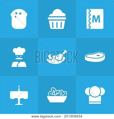 Collection Of Chef, Meat, Baguette And Other Elements.  Set Of 9 Restaurant Icons Set.