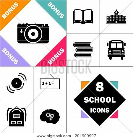 Photo camera Icon and Set Perfect Back to School pictogram. Contains such Icons as Schoolbook, School  Building, School Bus, Textbooks, Bell, Blackboard, Student Backpack, Brain Learn