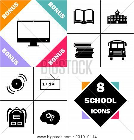 Computer display Icon and Set Perfect Back to School pictogram. Contains such Icons as Schoolbook, School  Building, School Bus, Textbooks, Bell, Blackboard, Student Backpack, Brain Learn