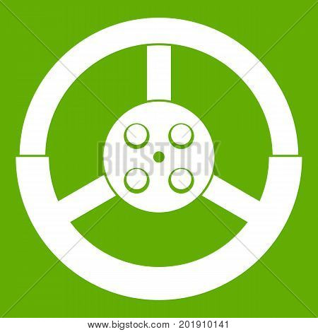 Steering wheel icon white isolated on green background. Vector illustration