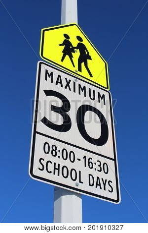 A Speed Limit Sign in School Zone