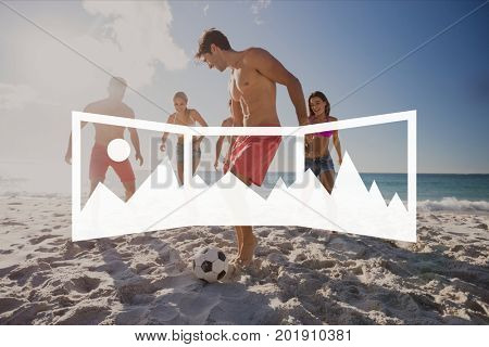 Digital composite of Panoramic photo icon against people at the beach photo