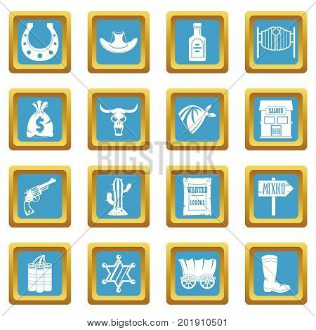 Wild west set design logo. Simple illustration of 16 wild west logo vector icons set in azur color isolated vector illustration for web and any design