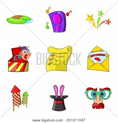Entertaining show icons set. Cartoon set of 9 entertaining show vector icons for web isolated on white background