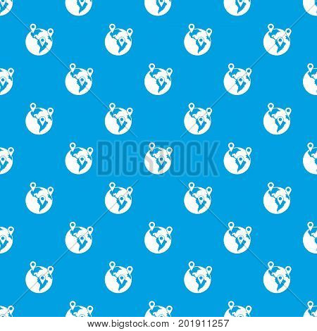 Globe and map pointers pattern repeat seamless in blue color for any design. Vector geometric illustration