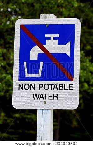 Closeup of a non potable water sign.
