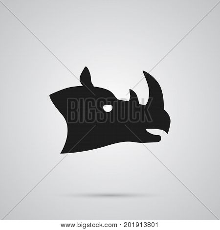 Vector Rhinoceros Element In Trendy Style.  Isolated Rhino Icon Symbol On Clean Background.