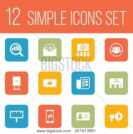 Collection Of Inbox, Group, Loudspeaker And Other Elements.  Set Of 12 Commercial Icons Set.