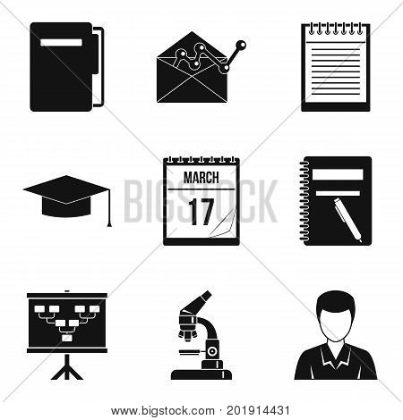Learned icons set. Simple set of 9 learned vector icons for web isolated on white background