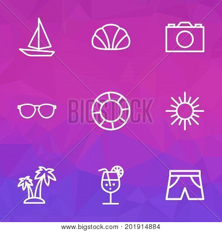 Sun Outline Icons Set. Collection Of Conch, Photo, Lifesaver And Other Elements