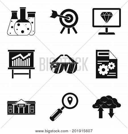 Financial market icons set. Simple set of 9 financial market vector icons for web isolated on white background