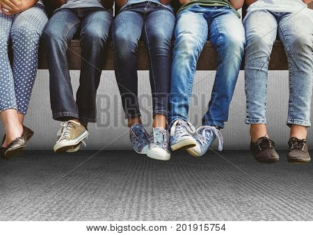 Digital composite of Group of people's legs sitting on bench in front of grey background