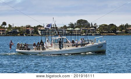 SAN DIEGO, CALIFORNIA, JUNE 9: San Diego Bay on June 9, 2017, in San Diego Bay, California. The Maritime Museum of San Diego Bay Tour is a very popular attraction for locals and tourists alike.