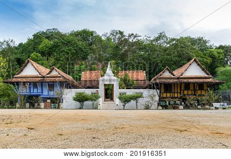 Thailand Traditional Local Architecture Building in Wat Tai Yor Songkhla Thailand