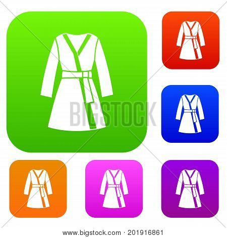 Bathrobe set icon in different colors isolated vector illustration. Premium collection