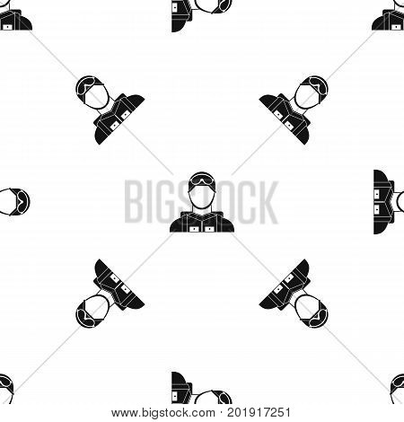 Military paratrooper pattern repeat seamless in black color for any design. Vector geometric illustration