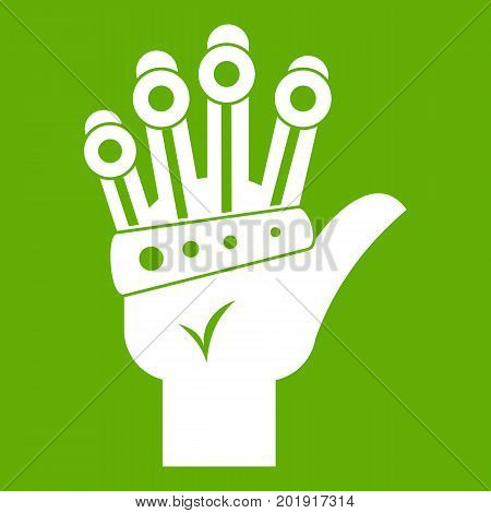 Vr manipulator icon white isolated on green background. Vector illustration