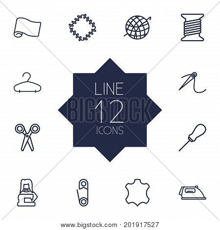 Collection Of Needle, Hanger, Iron And Other Elements.  Set Of 12 Stitch Outline Icons Set.