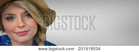 Digital composite of Portraiture of millennial woman against white background