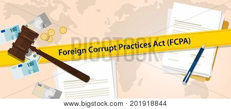 FCPA Foreign Corrupt Practices Act law regulation judge crime judicial enforcement conflict of interest agreement vector