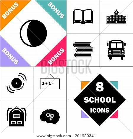 lunation Icon and Set Perfect Back to School pictogram. Contains such Icons as Schoolbook, School  Building, School Bus, Textbooks, Bell, Blackboard, Student Backpack, Brain Learn