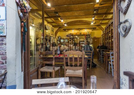 Certaldo Firenze Italy - july 26 2017; Typical Tuscan tavern with tourists in summer