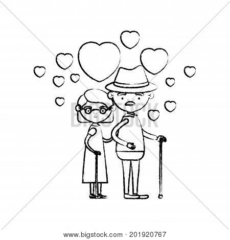 blurred silhouette of caricature full body elderly couple embraced with floating hearts grandfather with hat in walking stick and grandmother with short hair vector illustration