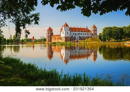 Mir Belarus - August 11 2016: Mir Castle is a museum and castle complex on the shore of the lake. Medieval fortress - historical heritage of Belarus. UNESCO World Heritage.