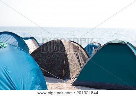 Picture of tent camping by the Black Sea coastline in Vama Veche Romania