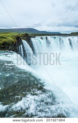 Beautiful Godafoss waterfall in Iceland at summer.