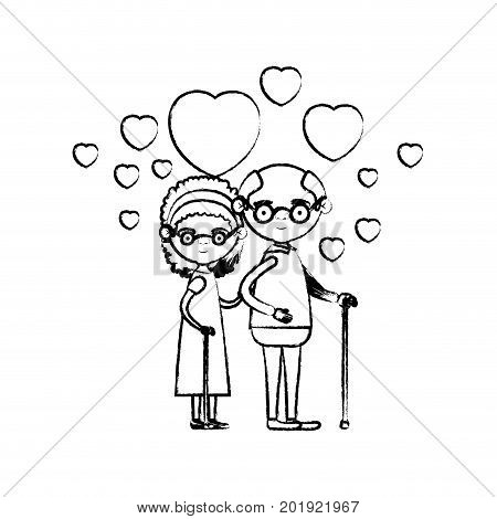 blurred silhouette of caricature full body elderly couple embraced with floating hearts grandfather with glasses in walking stick and grandmother with bow lace and curly hair vector illustration
