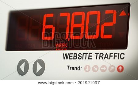 Digital screen indicating the number of website visits. Concept of internet audience metrics. 3D illustration.